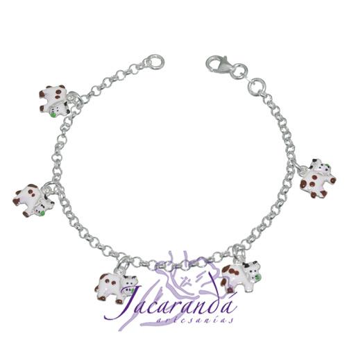 Pulsera cadena de Plata 925 diseño de color vaquitas
