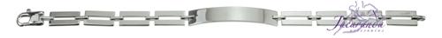 Pulsera de Plata 925 con baño de rodio diseño Uomo eslabón rectangular en medio para grabar