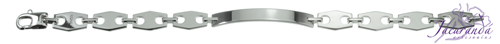 Pulsera de Plata 925 con baño de rodio diseño Uomo eslabón rombo en medio para grabar