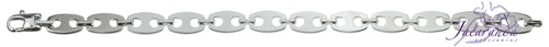 Pulsera de Plata 925 con baño de rodio diseño Uomo eslabón oval