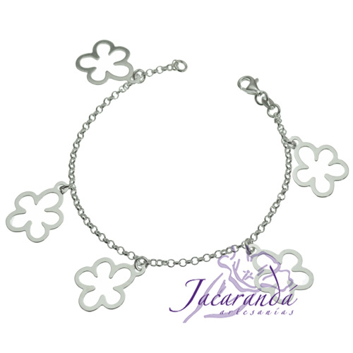 Pulsera cadena de plata 925 con colgantes de flores caladas