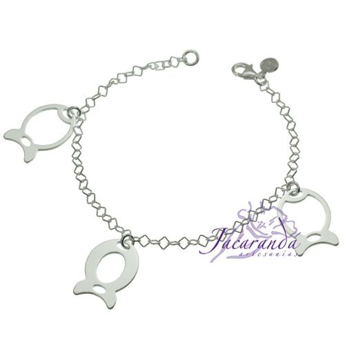 Pulsera cadena de plata 925 con peces grandes calados colgantes