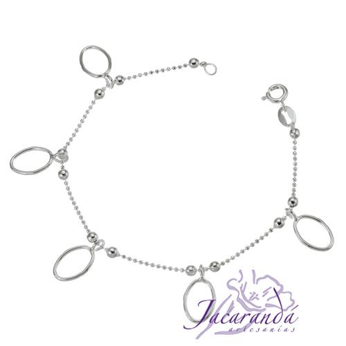 Pulsera cadena de plata 925 cinco ovales colgando
