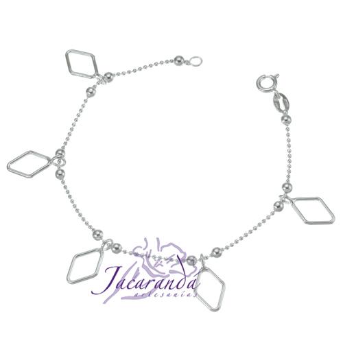 Pulsera cadena de plata 925 con bolitas y rombos colgantes