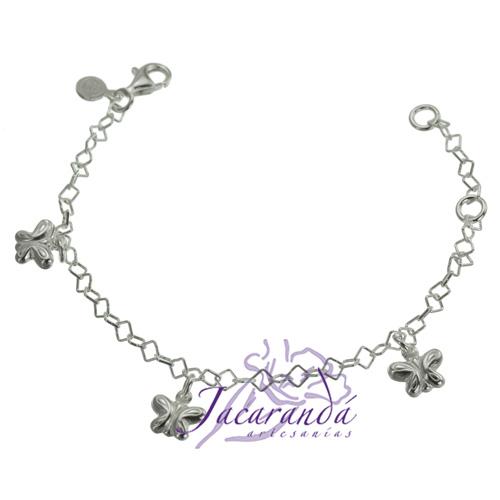 Pulsera cadena de plata 925 con 3 mariposas colgando