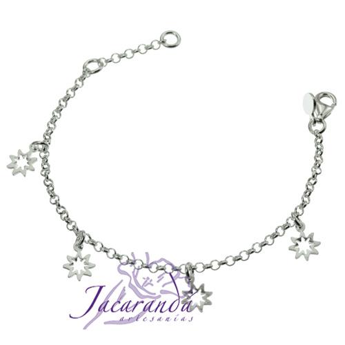 Pulsera cadena de plata 925 con 4 estrellas caladas colgando