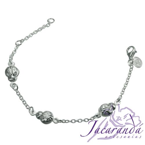 Pulsera cadena de plata 925 con 3 mariquitas