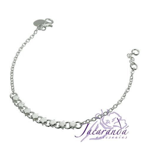Pulsera cadena de plata 925 8 estrellitas