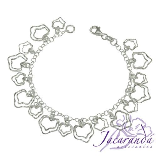 Pulsera cadena de plata 925 corazones dobles colgando