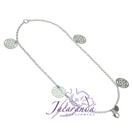 Pulsera doble cadena de plata 925 con flores caladas colgantes